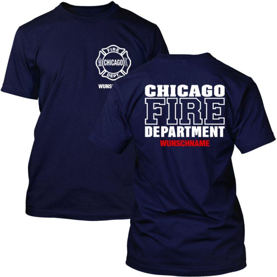 Chicago Fire Dept. T-Shirt mit Wunschname (Beidseitig)