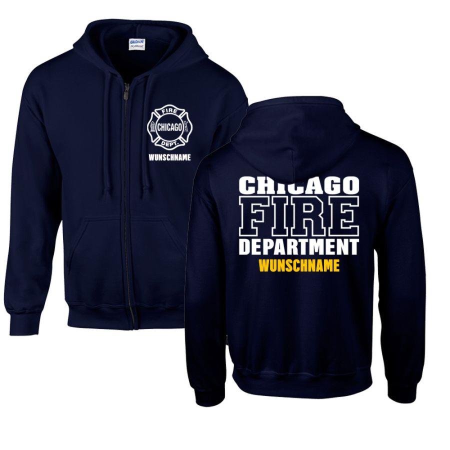 Chicago Fire Dept. - Sweatjacke mit Wunschname (Beidseitig)