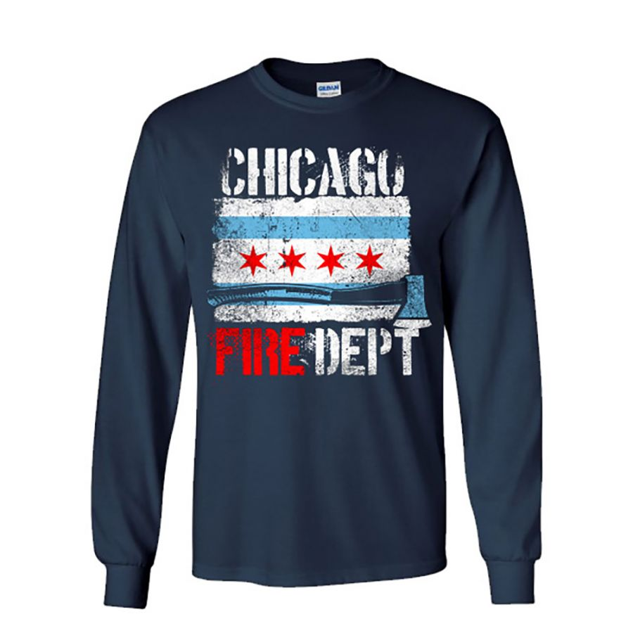 Chicao Fire Dept. - Longshirt mit Chicago Flagge