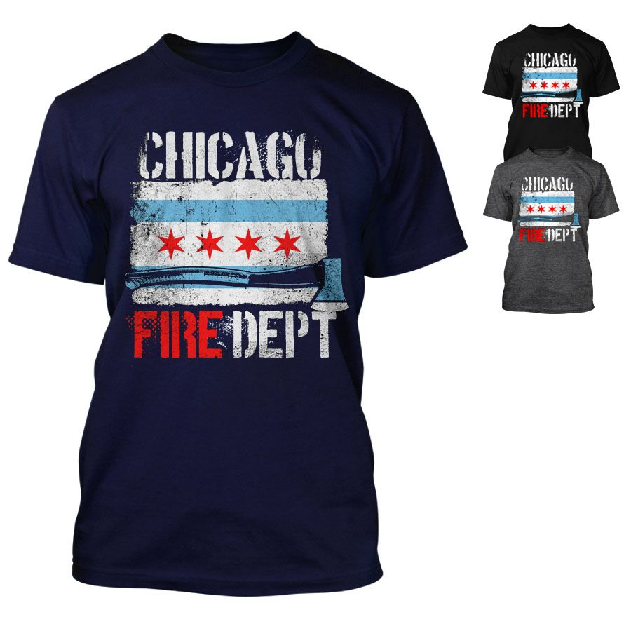 Chicago Fire Department - T-Shirt mit Chicago Flagge