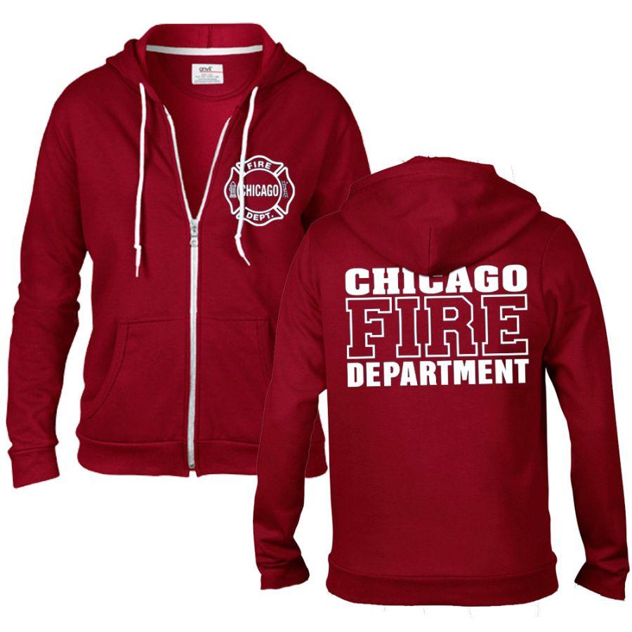 Chicago Fire Dept. - rote Sweatjacke mit Kapuze für Frauen