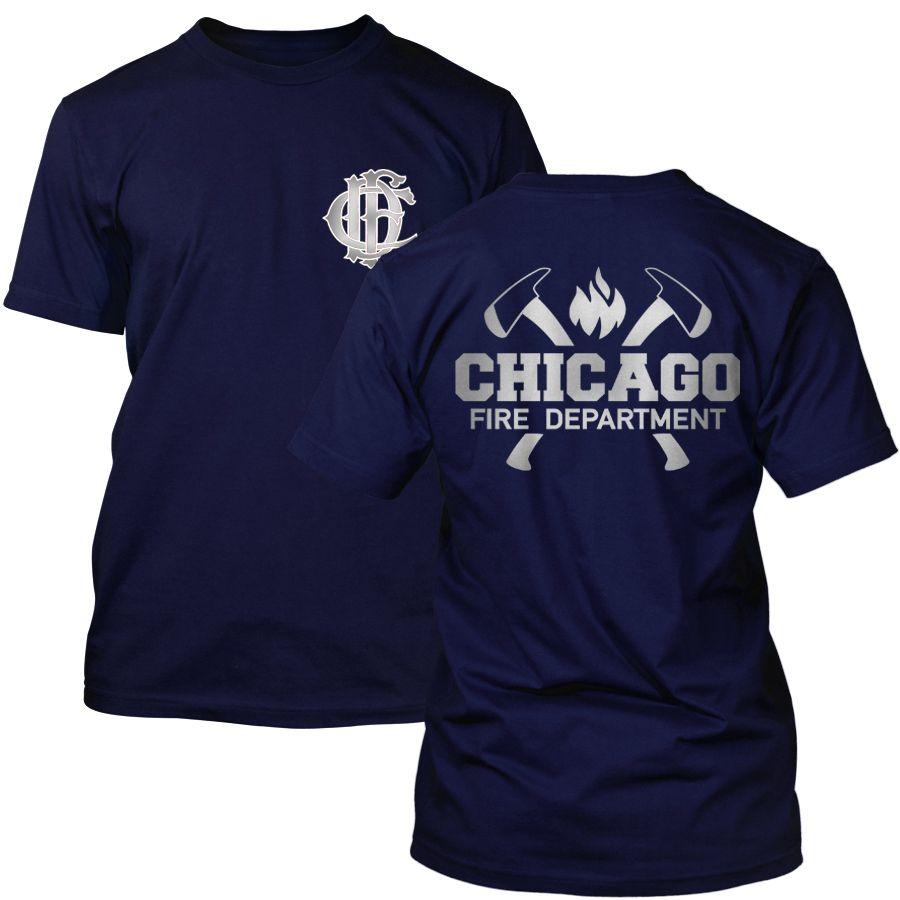 Chicago Fire Dept. - T-Shirt mit Axt-Logo und Schriftzug (Silver Edition)