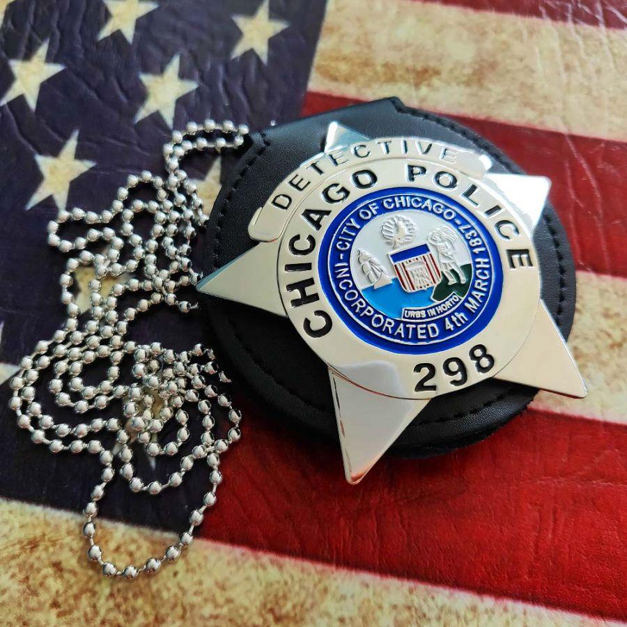 Chicago Police Dept. - Metall Badge / Abzeichen - Detective - Mit Leder und Kette