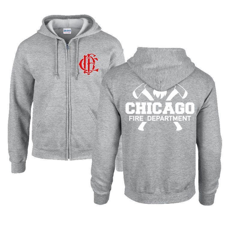 Chicago Fire Dept. - Sweatjacke mit Kapuze in grau - Mit Squad 3 oder Truck 81 Aufschrift