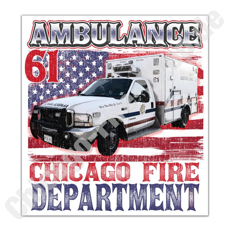 Chicago Fire Dept. - Ambulance 61 - Aufkleber