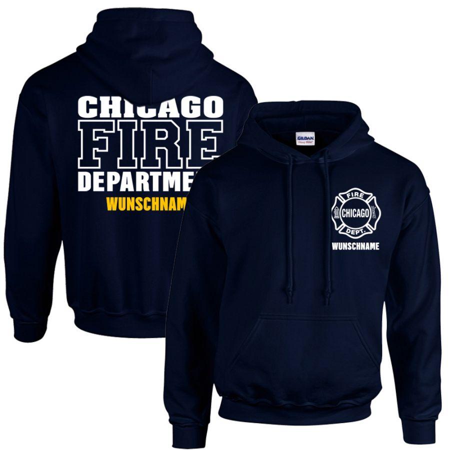 Chicago Fire Dept. - Kapuzenpullover mit Wunschname (Beidseitig)