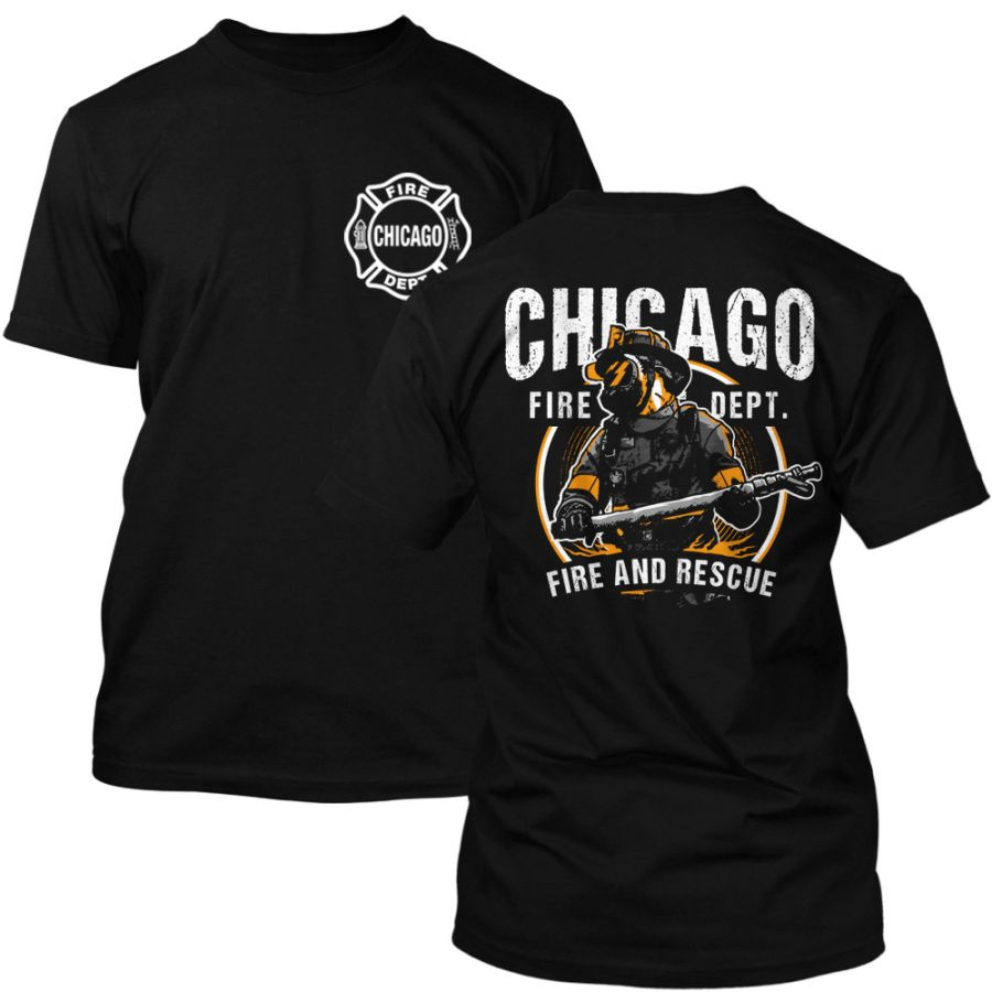 Chicago Fire Dept. - Fire and Rescue T-Shirt in black