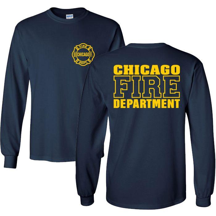 Chicago Fire Dept. - Longshirt in navy mit Logo und Schriftzug in gelb
