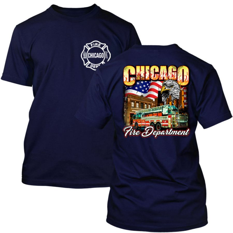 Chicago Fire Dept. - T-Shirt mit Eagle Motiv