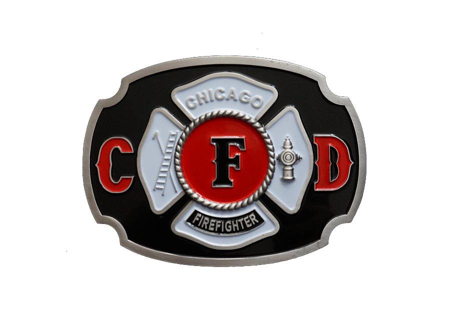 Chicago Fire Dept. - farbige Gürtelschnalle aus Metall