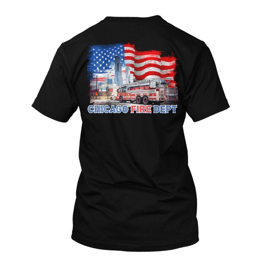Chicago Fire Dept. - T-Shirt with Truck 19 and Skyline Motif