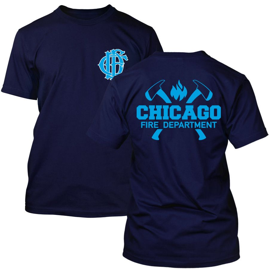Chicago Fire Dept. - T-shirt with axe logo and lettering (Blue Edition)