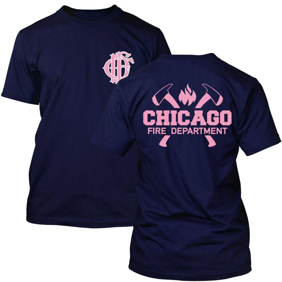 Chicago Fire Dept. - T-Shirt mit Axt-Logo und Schriftzug (Pink Edition)
